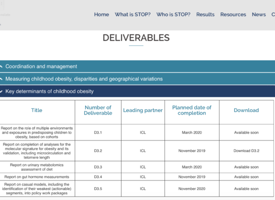 Screenshot of deliverables section